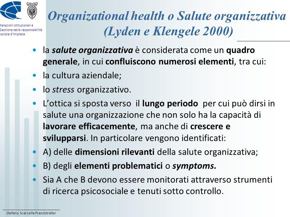 Organizational health o Salute organizzativa (Lyden e Klengele 2000)