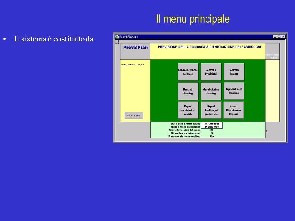 Il menu principale Il sistema è costituito da Prev&Pian KANT sas