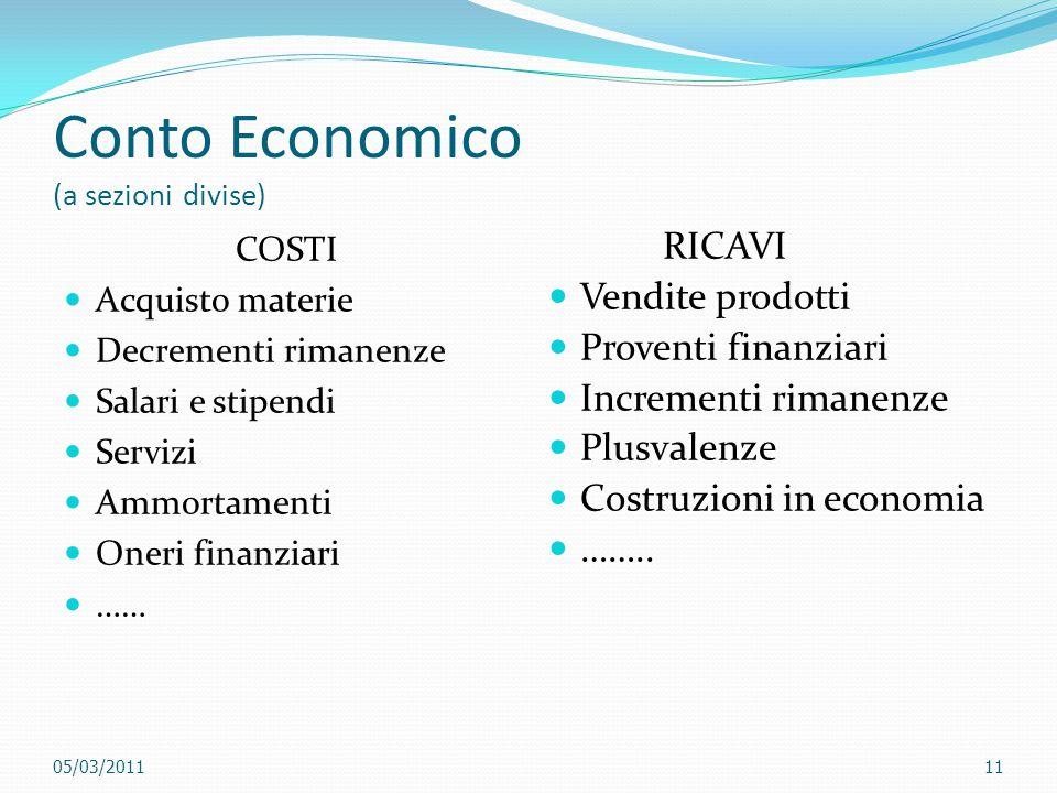Conto Economico (a sezioni divise)