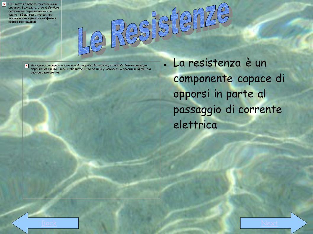 Le Resistenze La resistenza è un componente capace di opporsi in parte al passaggio di corrente elettrica.