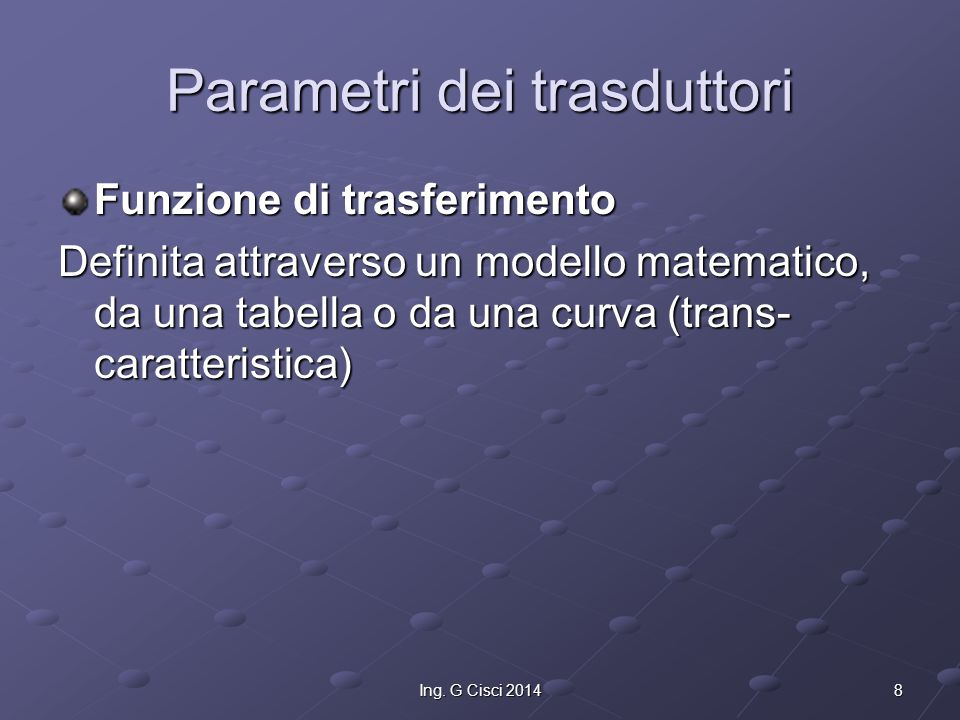 Parametri dei trasduttori