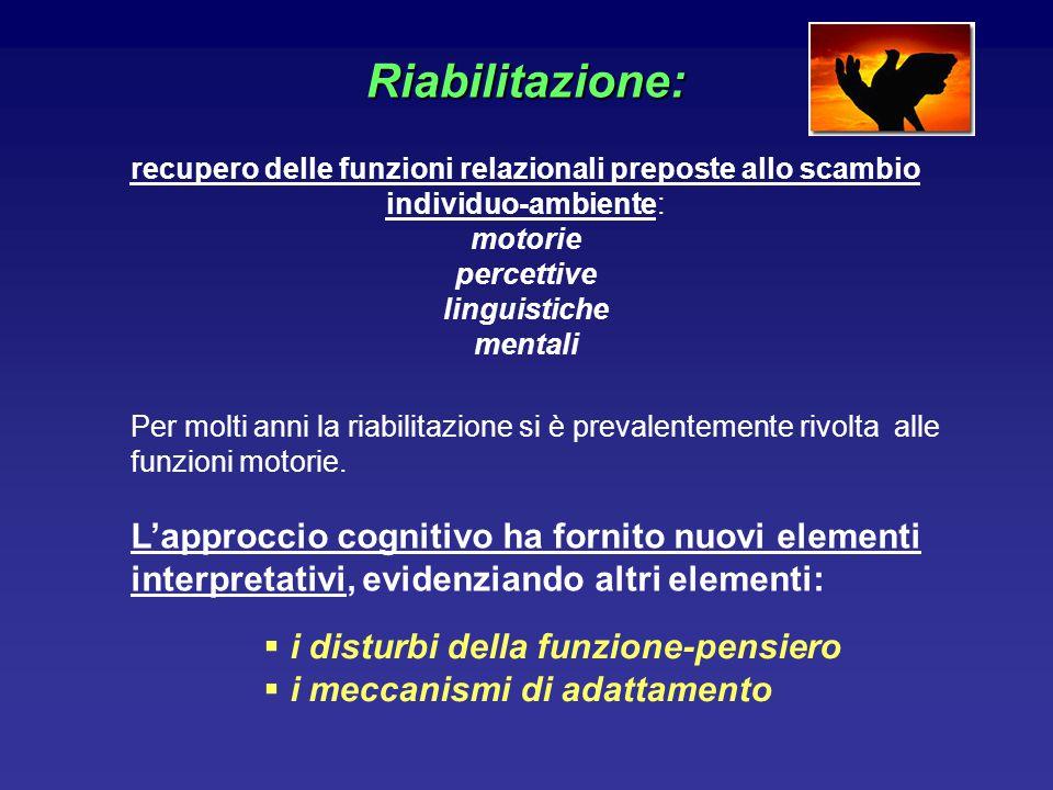 Riabilitazione: recupero delle funzioni relazionali preposte allo scambio individuo-ambiente: motorie percettive linguistiche mentali