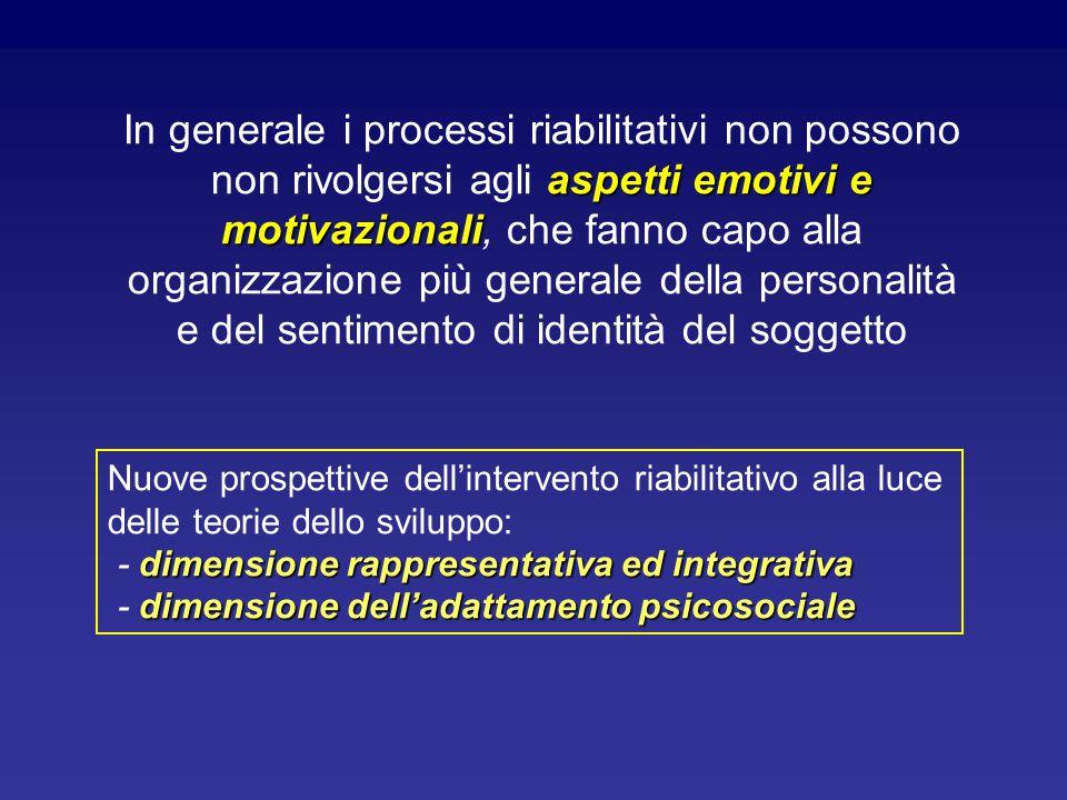 In generale i processi riabilitativi non possono non rivolgersi agli aspetti emotivi e motivazionali, che fanno capo alla organizzazione più generale della personalità e del sentimento di identità del soggetto