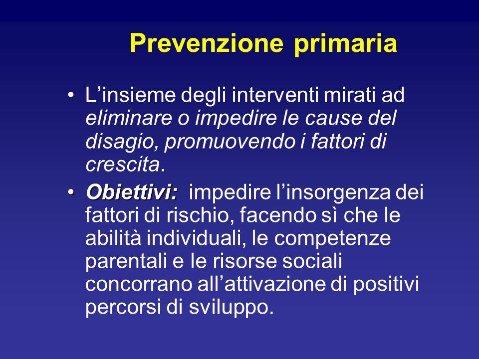 Prevenzione primaria L'insieme degli interventi mirati ad eliminare o impedire le cause del disagio, promuovendo i fattori di crescita.