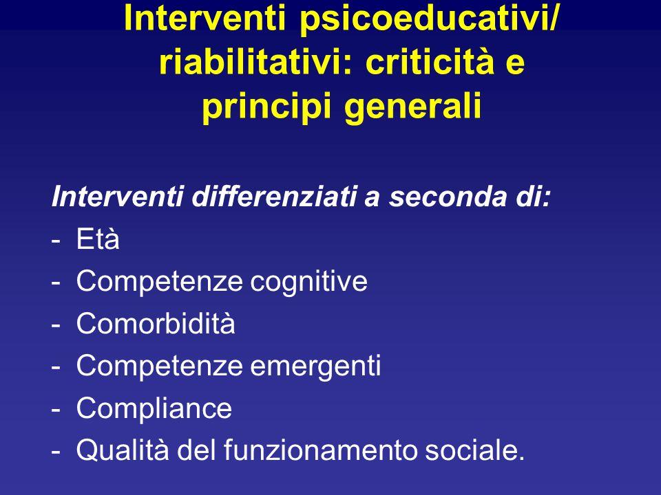 Interventi psicoeducativi/ riabilitativi: criticità e principi generali