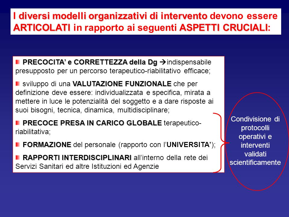I diversi modelli organizzativi di intervento devono essere ARTICOLATI in rapporto ai seguenti ASPETTI CRUCIALI:
