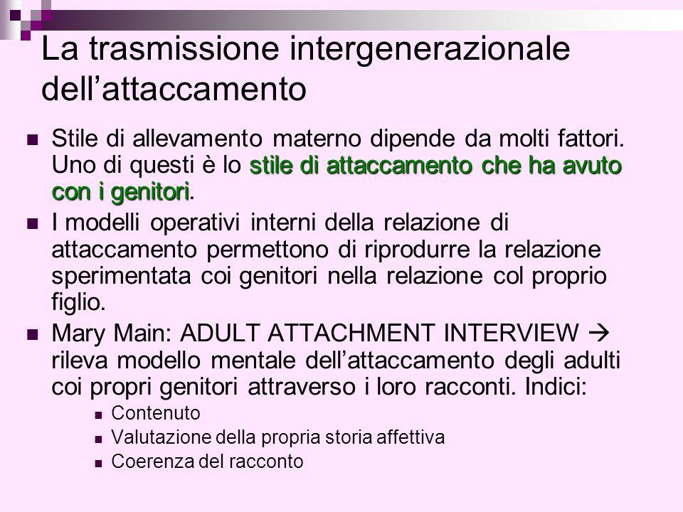 La trasmissione intergenerazionale dell'attaccamento