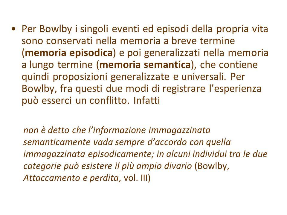 Per Bowlby i singoli eventi ed episodi della propria vita sono conservati nella memoria a breve termine (memoria episodica) e poi generalizzati nella memoria a lungo termine (memoria semantica), che contiene quindi proposizioni generalizzate e universali. Per Bowlby, fra questi due modi di registrare l'esperienza può esserci un conflitto. Infatti