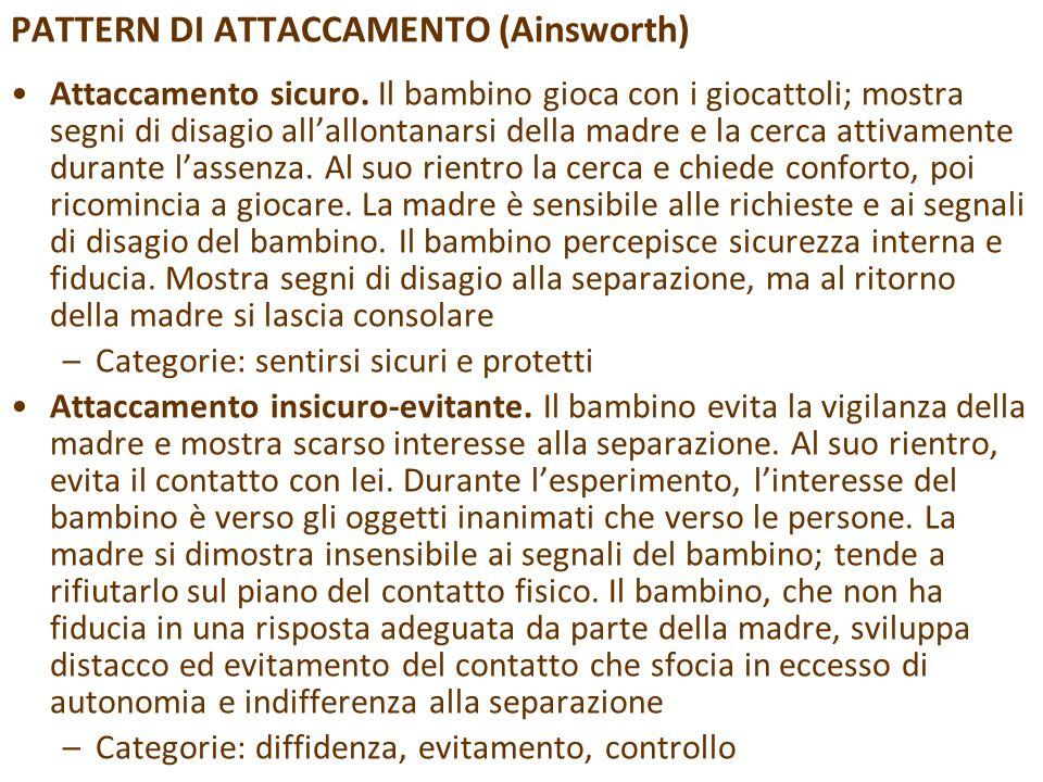 PATTERN DI ATTACCAMENTO (Ainsworth)