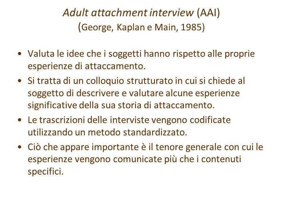 Adult attachment interview (AAI) (George, Kaplan e Main, 1985)