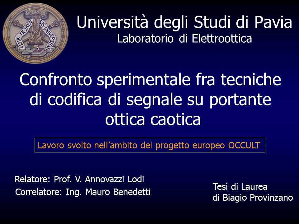Università degli Studi di Pavia Laboratorio di Elettroottica