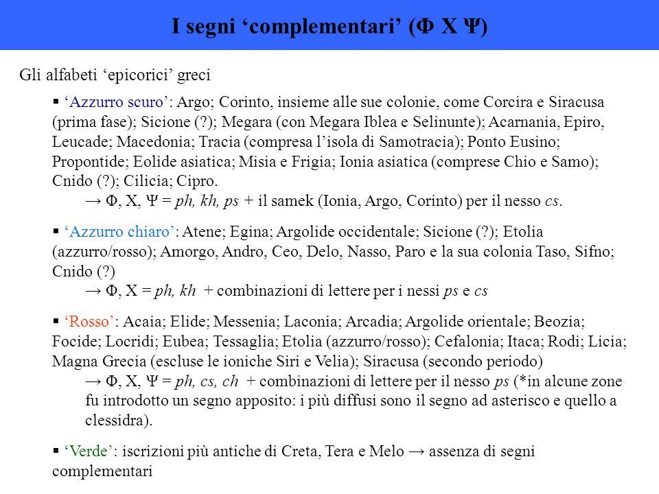 I segni 'complementari' (Φ Χ Ψ)