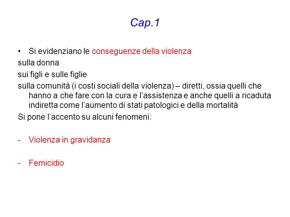 Cap.1 Si evidenziano le conseguenze della violenza sulla donna