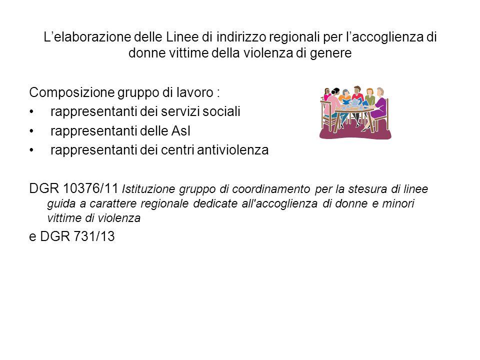 L'elaborazione delle Linee di indirizzo regionali per l'accoglienza di donne vittime della violenza di genere
