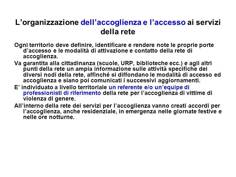 L'organizzazione dell'accoglienza e l'accesso ai servizi della rete