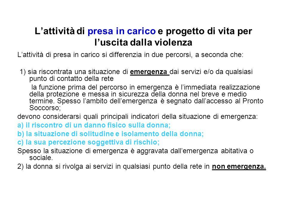 L'attività di presa in carico e progetto di vita per l'uscita dalla violenza