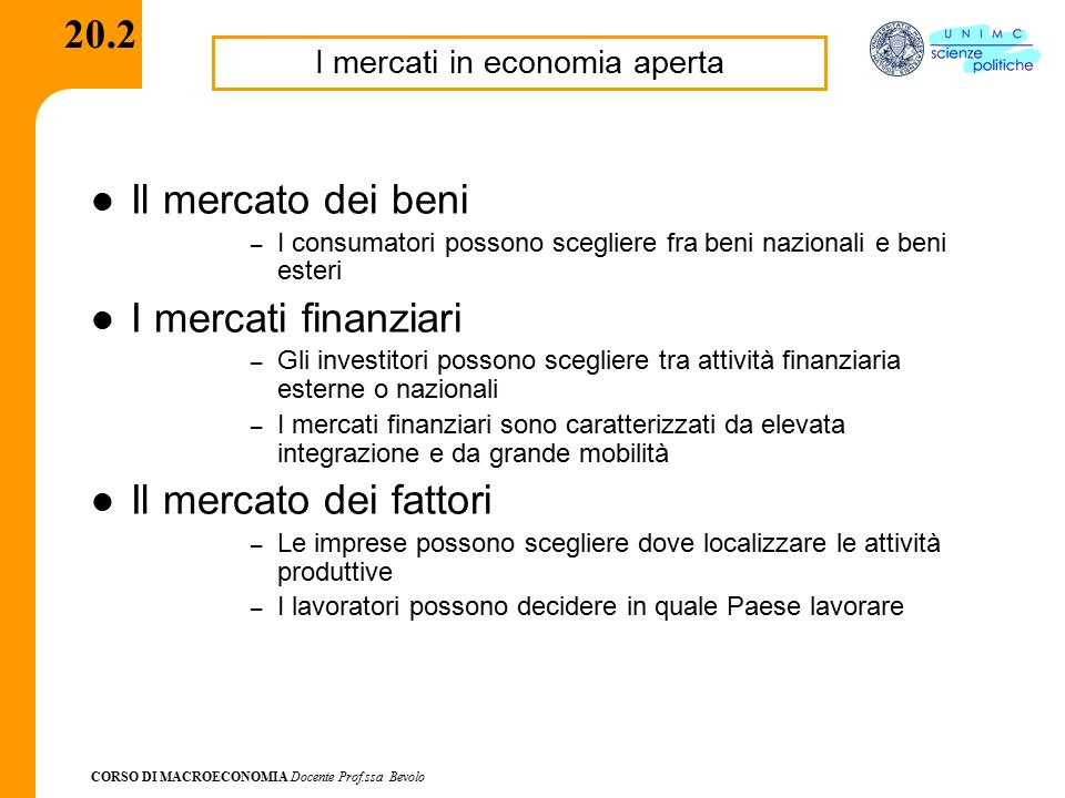 I mercati in economia aperta