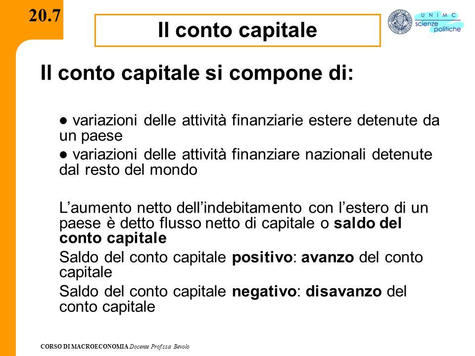 Il conto capitale si compone di: