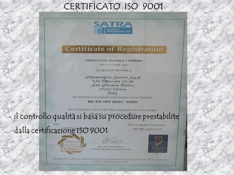 CERTIFICATO ISO 9001 il controllo qualità si basa su procedure prestabilite.