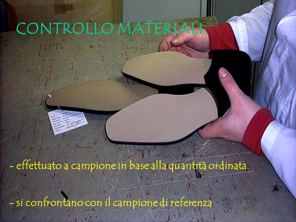 CONTROLLO MATERIALI - effettuato a campione in base alla quantità ordinata.