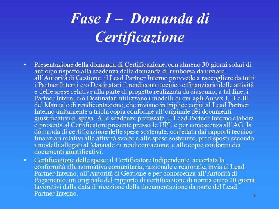 Fase I – Domanda di Certificazione
