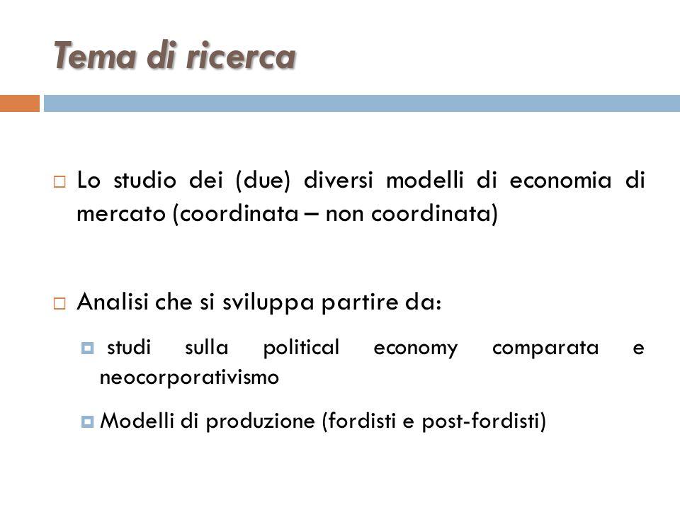 Tema di ricerca Lo studio dei (due) diversi modelli di economia di mercato (coordinata – non coordinata)