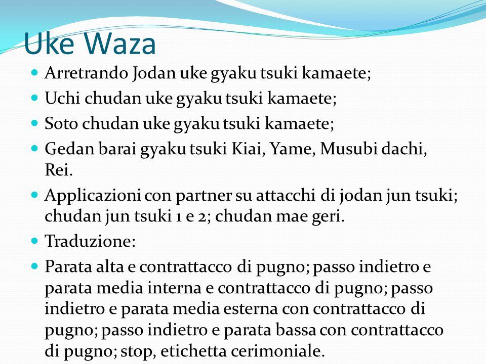 Uke Waza Arretrando Jodan uke gyaku tsuki kamaete;