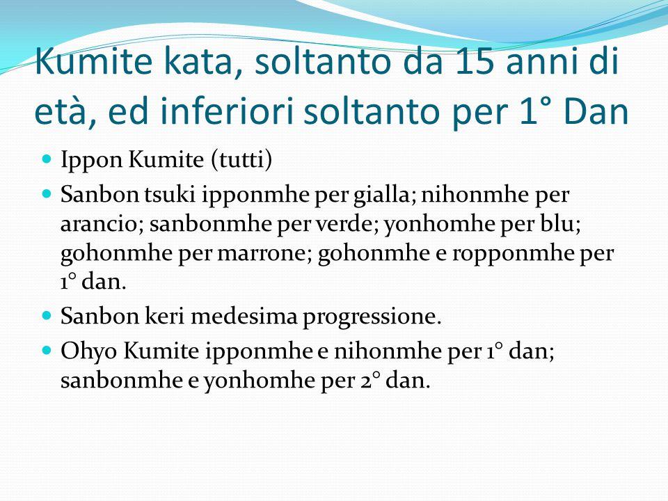 Kumite kata, soltanto da 15 anni di età, ed inferiori soltanto per 1° Dan