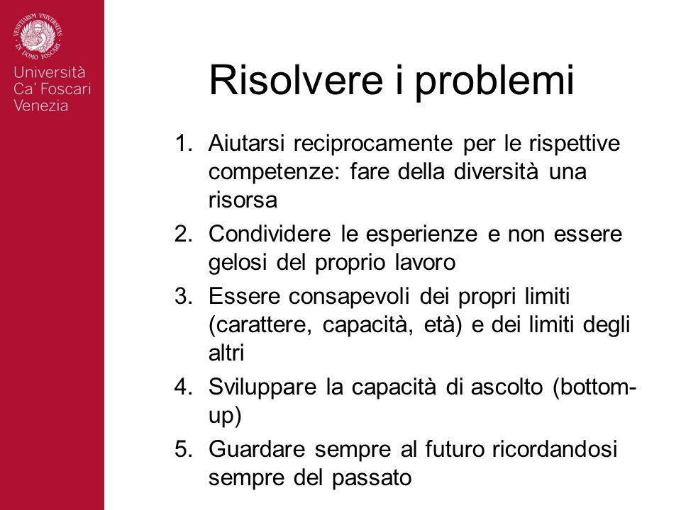 Risolvere i problemi Aiutarsi reciprocamente per le rispettive competenze: fare della diversità una risorsa.