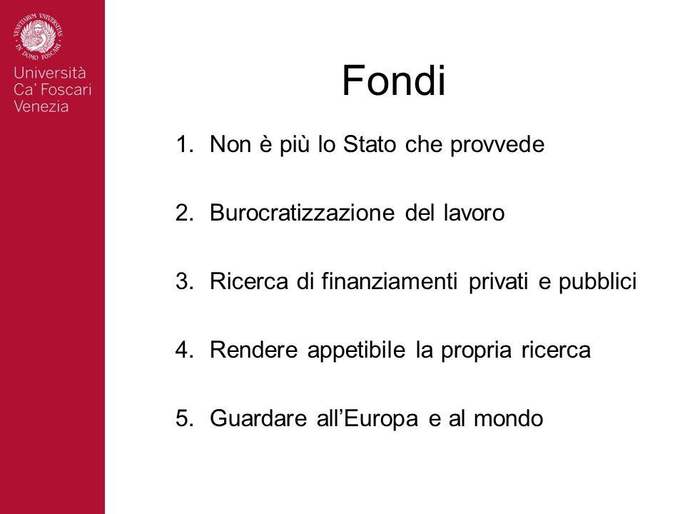 Fondi Non è più lo Stato che provvede Burocratizzazione del lavoro