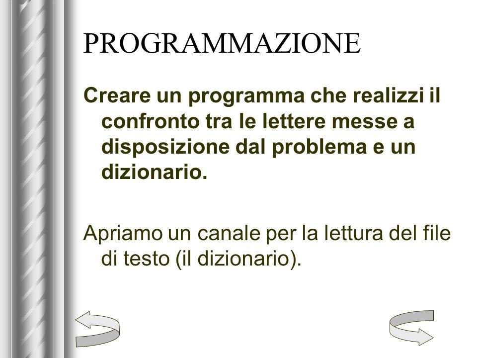 PROGRAMMAZIONE Creare un programma che realizzi il confronto tra le lettere messe a disposizione dal problema e un dizionario.