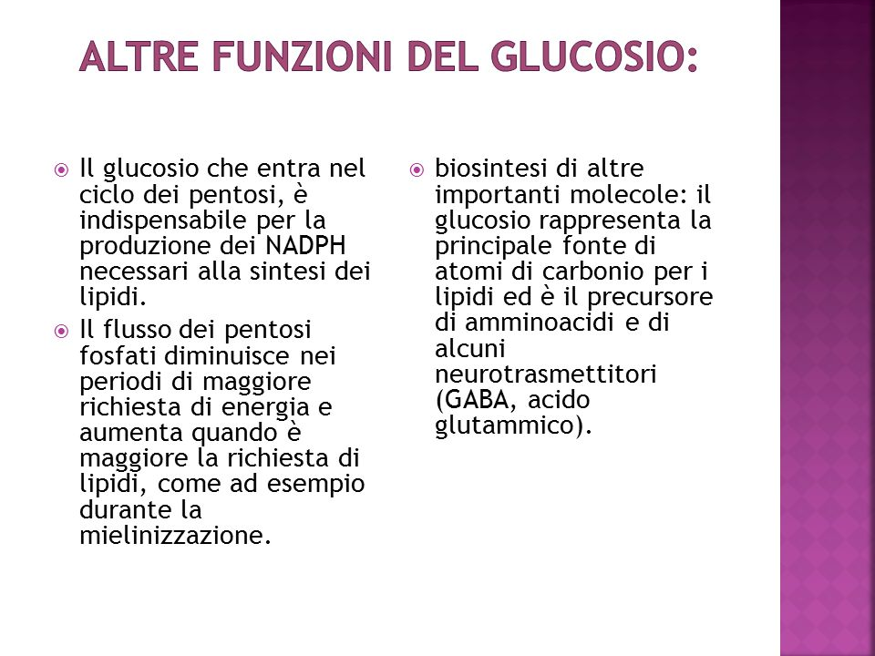 Altre funzioni del glucosio: