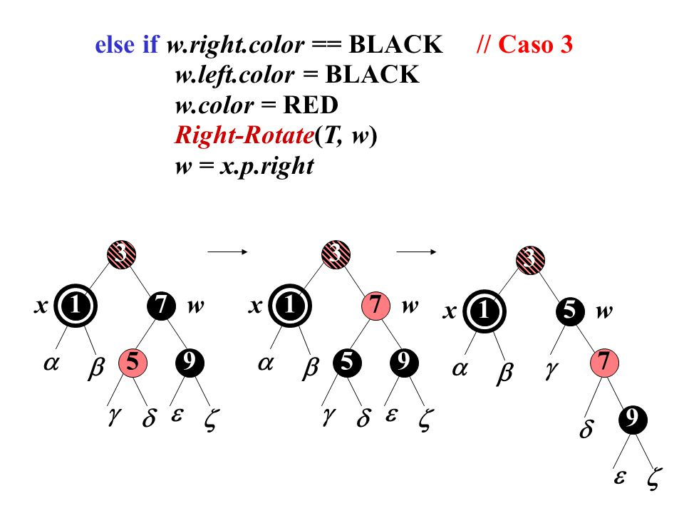 else if w.right.color == BLACK // Caso 3