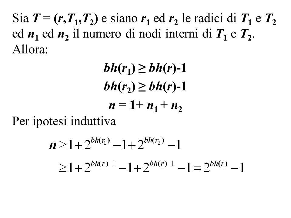 Sia T = (r,T1,T2) e siano r1 ed r2 le radici di T1 e T2 ed n1 ed n2 il numero di nodi interni di T1 e T2. Allora: