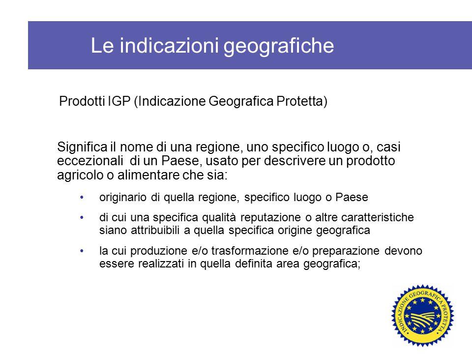 Le indicazioni geografiche