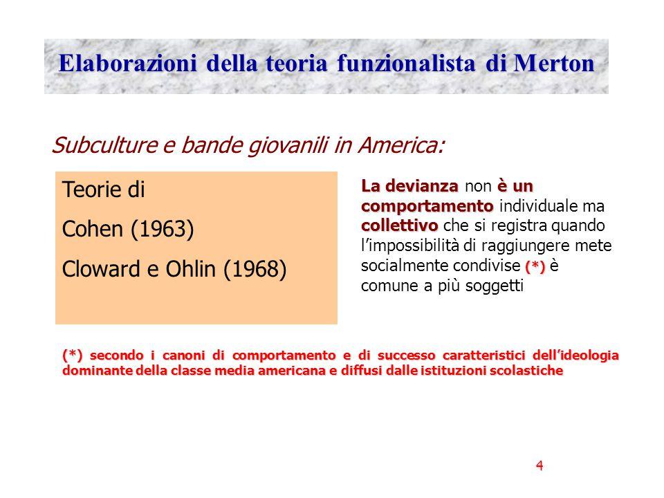 Elaborazioni della teoria funzionalista di Merton