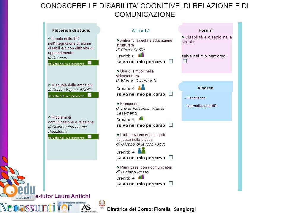 CONOSCERE LE DISABILITA COGNITIVE, DI RELAZIONE E DI COMUNICAZIONE