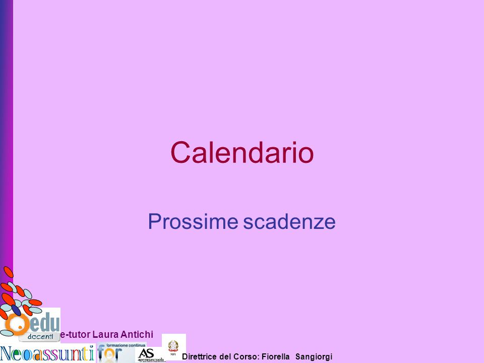 Calendario Prossime scadenze e-tutor Laura Antichi