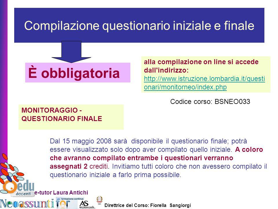 Compilazione questionario iniziale e finale