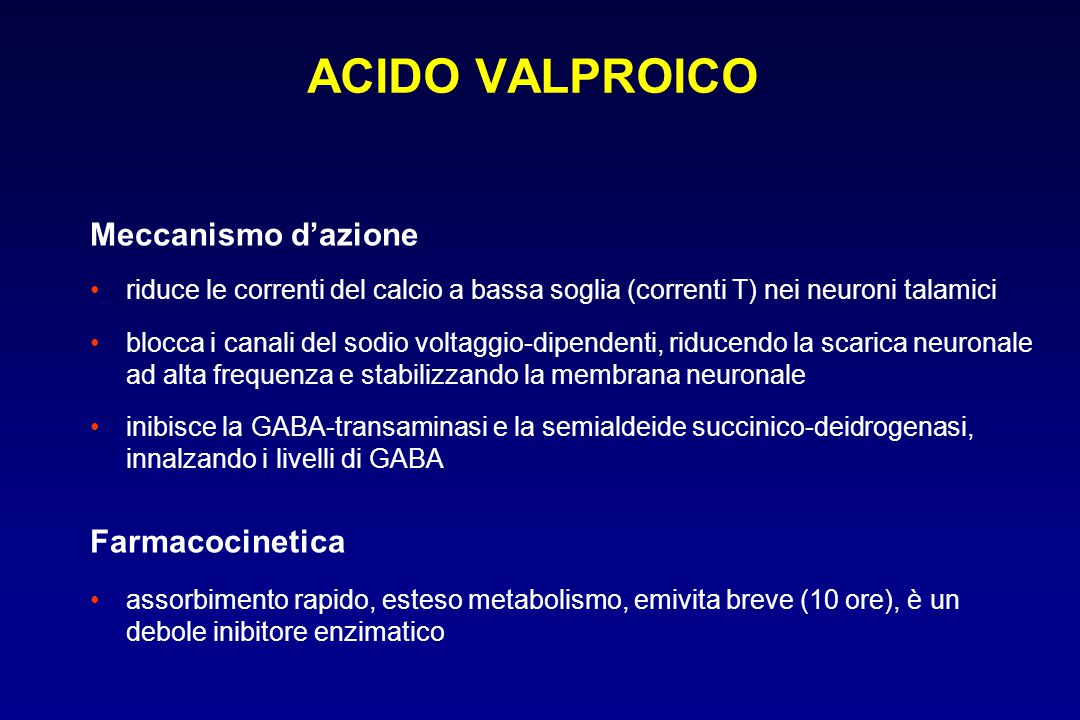 ACIDO VALPROICO Meccanismo d'azione Farmacocinetica