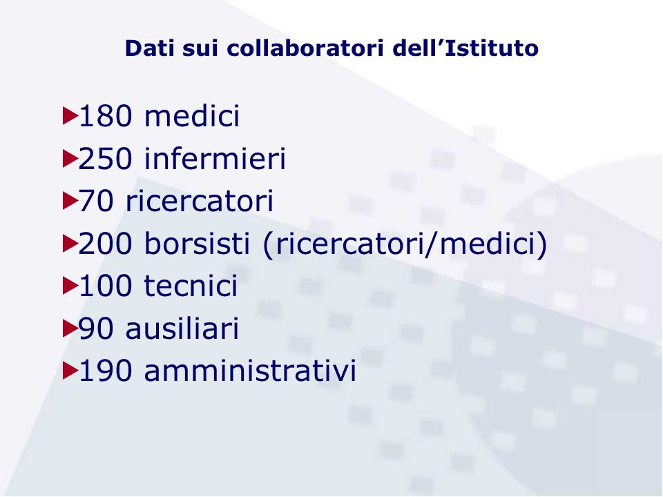 Dati sui collaboratori dell'Istituto