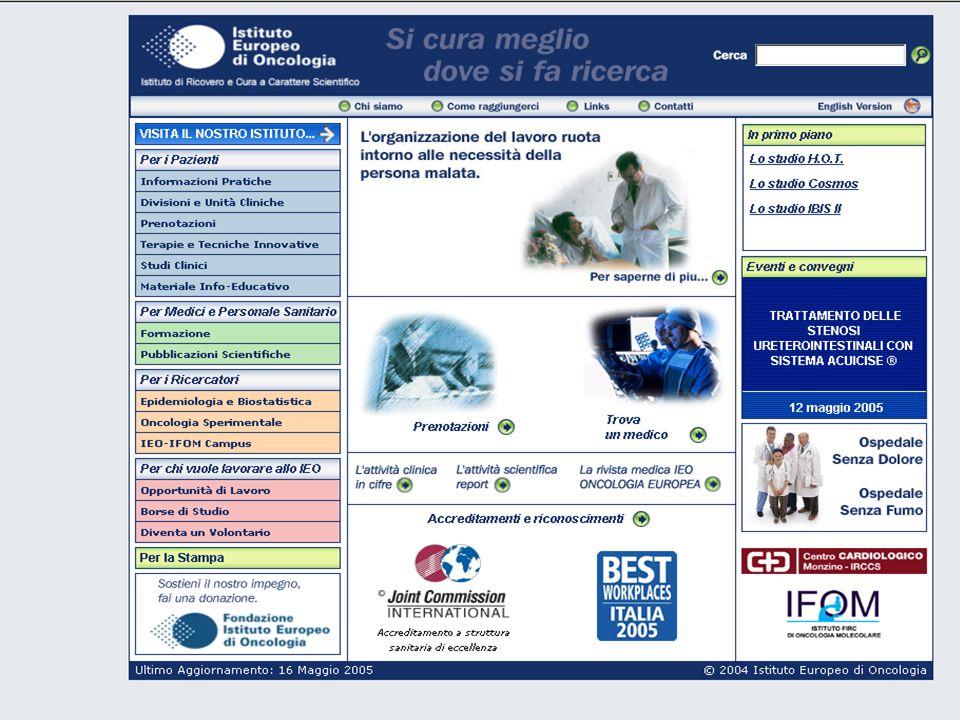Questo è la nostro home page, www.ieo.it.