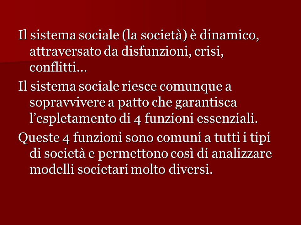 Il sistema sociale (la società) è dinamico, attraversato da disfunzioni, crisi, conflitti…