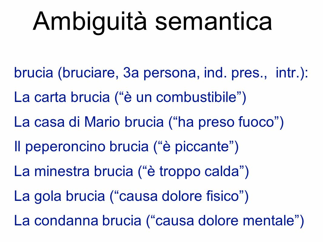 Ambiguità semantica brucia (bruciare, 3a persona, ind. pres., intr.):