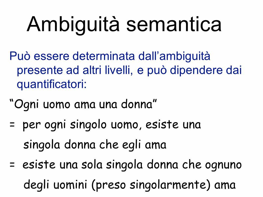 Ambiguità semantica Può essere determinata dall'ambiguità presente ad altri livelli, e può dipendere dai quantificatori: