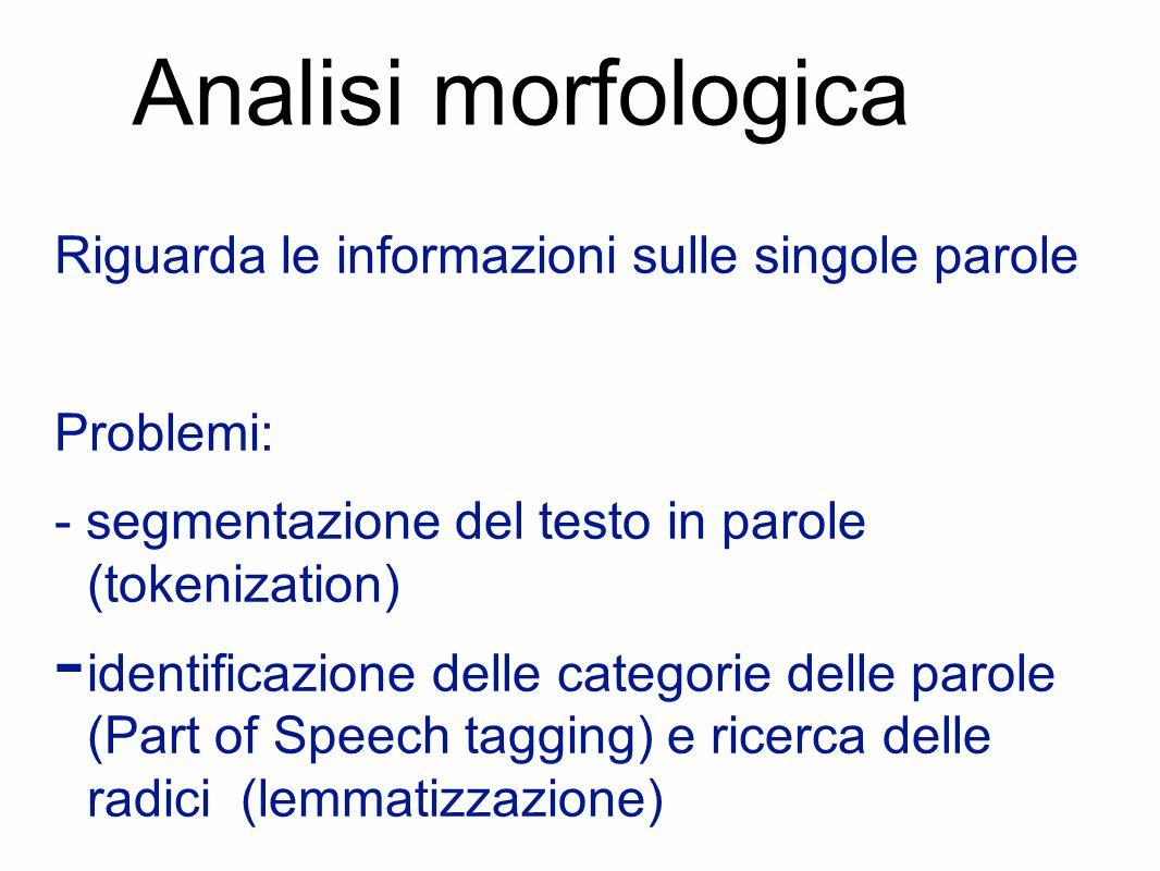 Analisi morfologica Riguarda le informazioni sulle singole parole