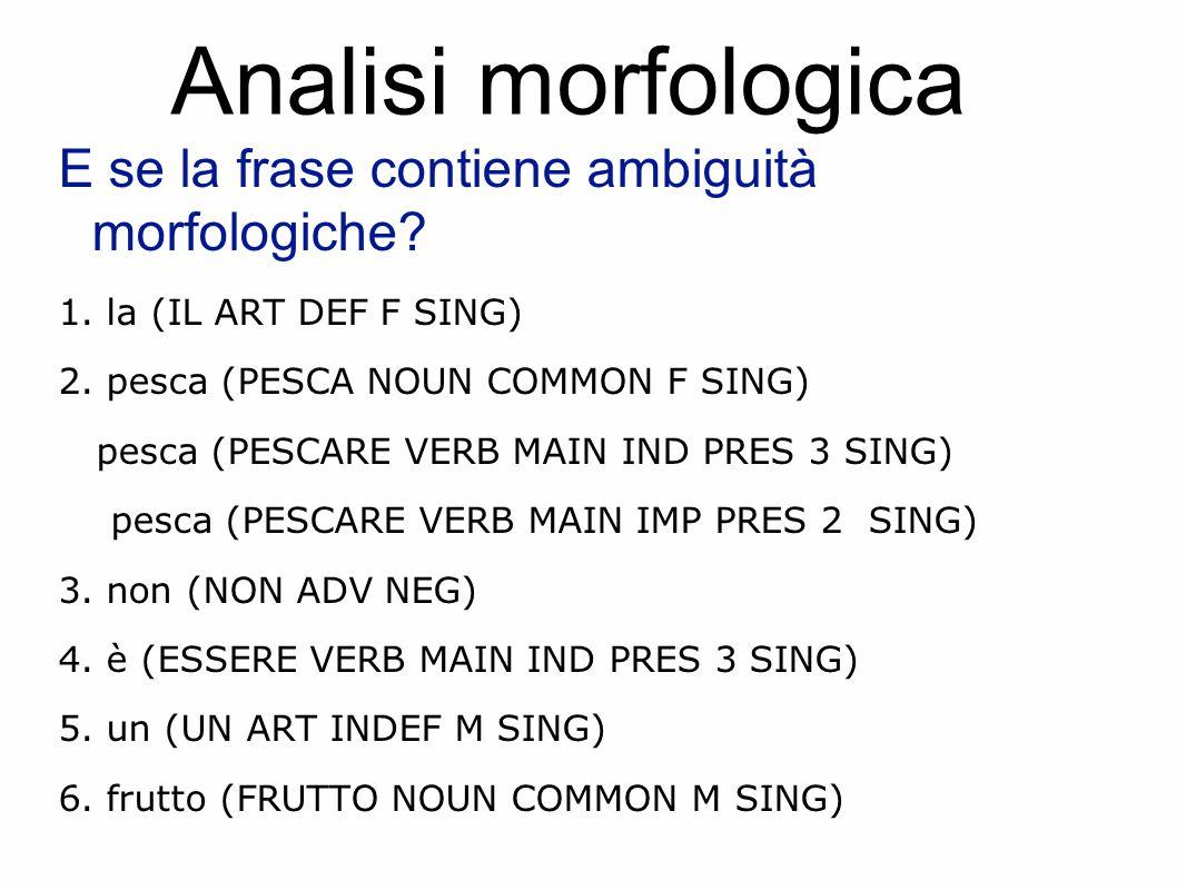 Analisi morfologica E se la frase contiene ambiguità morfologiche