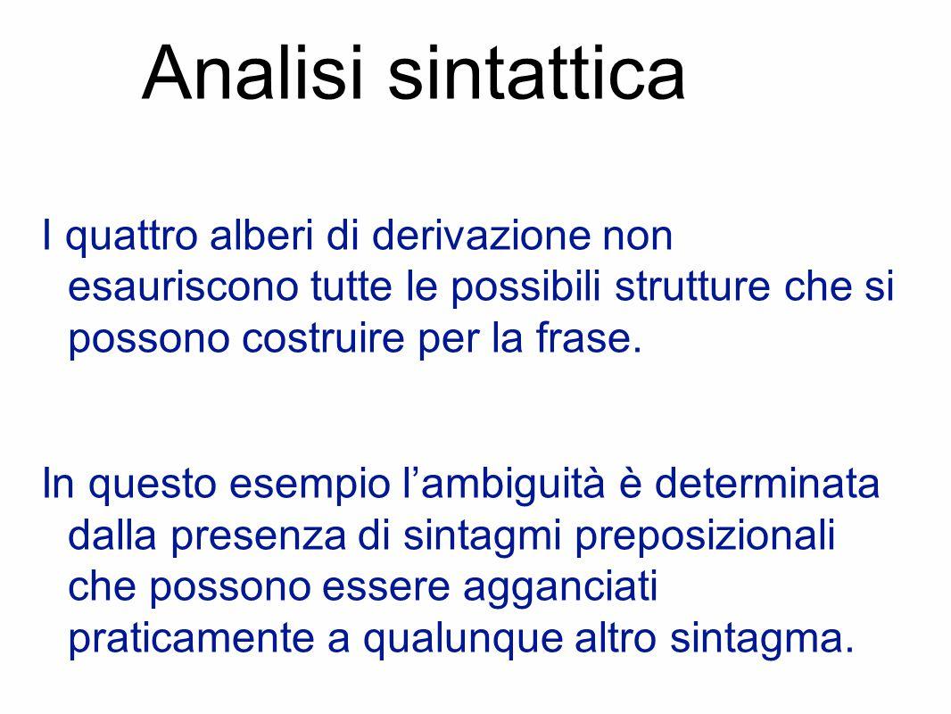 Analisi sintattica I quattro alberi di derivazione non esauriscono tutte le possibili strutture che si possono costruire per la frase.
