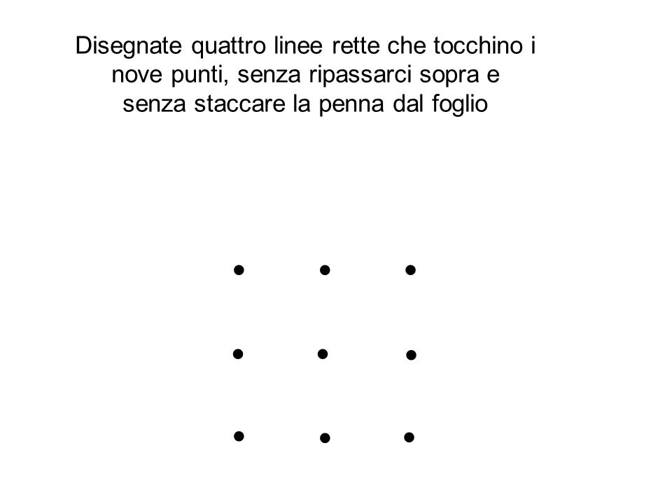 Disegnate quattro linee rette che tocchino i nove punti, senza ripassarci sopra e senza staccare la penna dal foglio