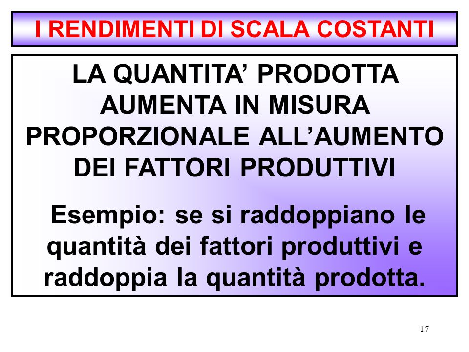 I RENDIMENTI DI SCALA COSTANTI